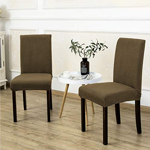 2 Pack Armless Chair Slip Covers for Dining Room Kitchen Slipcovers Soft Jacquard Home Decor Coffee (Chairs Slipcovers Armless)