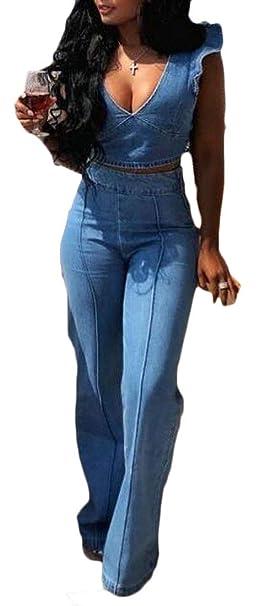 1b226afd72 JXG Women 2 PCS Set Deep V Neck Crop Top Jeans Wide Leg Denim Pants Jumpsuit