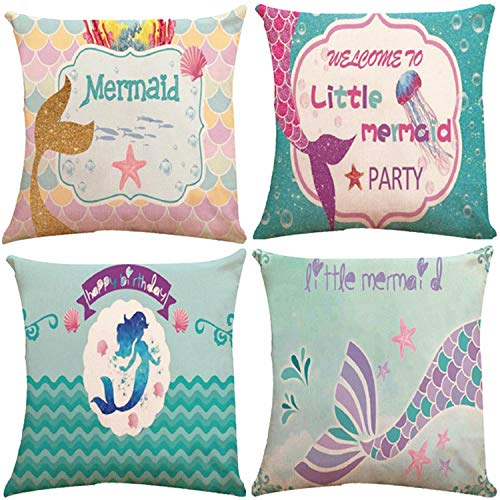 Decorative Cushion Design - ZUEXT Set of 4 Mermaid Decorative Throw Pillow Covers 18x18 Inch Double Side Design, Cotton Linen Pillowcase for Car Sofa Ocean Theme Brithday Party Bedroom Home Decor, for Kids Girls