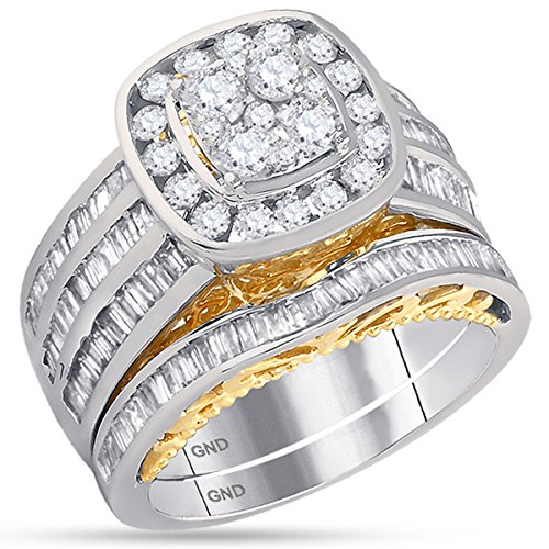 14K Gold Two Tone Halo Cushion Real Diamond Baguette Engagement Ring Set 1 3/4 CT (I1-I2 clarity; G-H color) (Tone Diamond Two Baguette)
