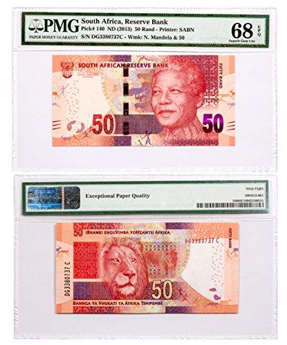 2013 ZA () Reserve Bank Note - Pick #140 EPQ 50 Rand Superb Gem Unc 68 PMG