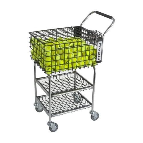 Image of Court Accessories HEAD Tennis Teaching Cart - Training & Practice Tennis Ball Travel Basket - Holds 325 Balls
