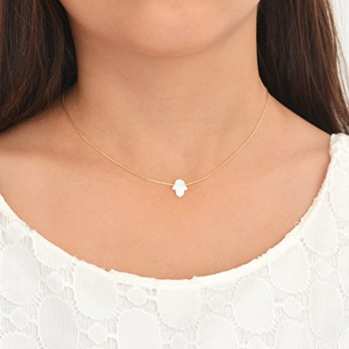 White Opal Hamsa hand Necklace 14k Gold Filled 16 inch+ 2 extension (Gold Pendant Handmade)