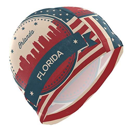 Printedin3D Florida State Orlando Skyline Swimming Cap Swim Hat for Men
