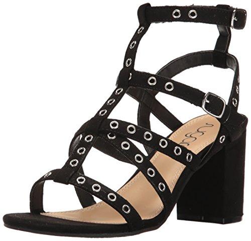 Micro Suede Sandals (Sugar Women's Rock N Roll Faux Suede Block Heel Dress Sandal with Studs, Black Micro, 6 M US)