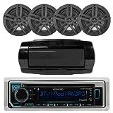 "Kenwood Single DIN Bluetooth in-Dash CD/AM/FM/Digital Media Marine Stereo Receiver, 4X Enrock 2-Way 180-Watts High-Performance 6.5"" Water-Resistant Speaker (Black), Seaworthy in-Dash Radio Cover"
