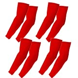 The Elixir Sports Compression Arm Sleeves, Ideal for Outdoor Activities Baseball Football Basketball (4 Pairs, Red)