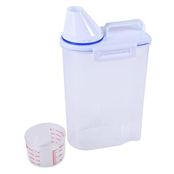 Contenedores de plástico para alimentos para mascotas Set Dog Cat Dispensador de alimentos secos Easy Pour With Cup Suministros para mascotas: Amazon.es: ...