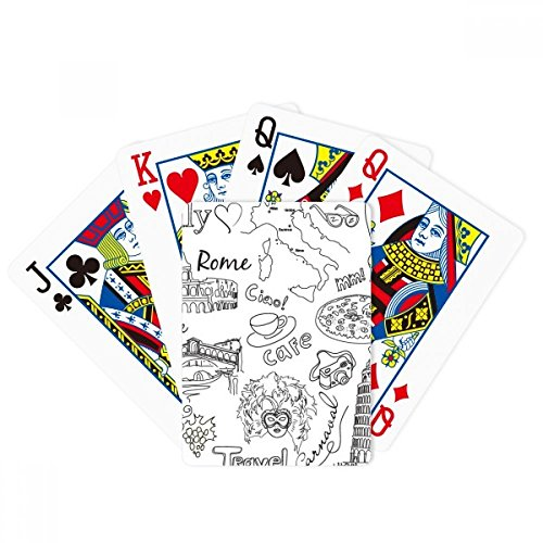 Italy Landscape Famous Travel Sketch Poker Playing Cards Tabletop Game Gift by beatChong