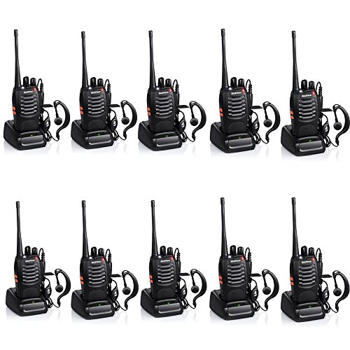 Baofeng BF-888S Rechargeable Long Range 5W Two Way Radio Walkie Talkies 16 Channel Handheld Radio Built in LED Torch Microphone With Earpiece(Pack of 10) 10 Pack (Handheld Long Range)