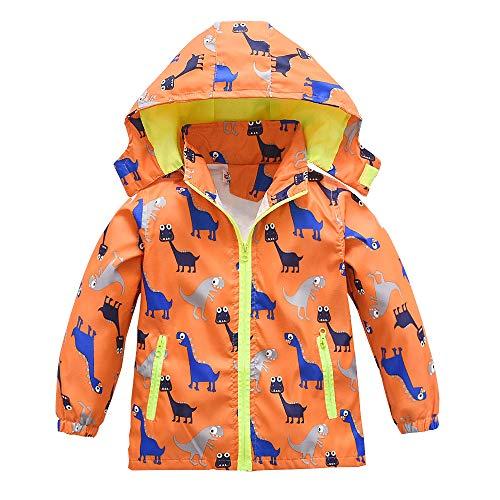 Boys Girls Jacket Hooded Trench Dinosaur Zip Lightweight Kids rain Coat Windbreaker Outdoor (Orange,5)