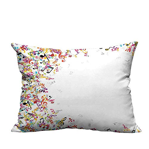 YouXianHome Sofa Waist Cushion Cover Colorful Music Notes Frame Decorating Festival Singing Enjoyment Fashion Decorative for Kids Adults(Double-Sided Printing) 19.5x26 inch