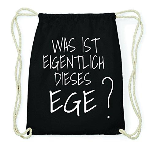 JOllify EGE Hipster Turnbeutel Tasche Rucksack aus Baumwolle - Farbe: schwarz Design: Was ist eigentlich