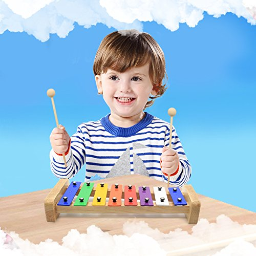 CELEMOON Natural Wooden Toddler Xylophone Glockenspiel For Kids with Multi-Colored Metal Bars Included Two Sets of Child-Safe Wooden Mallets (15-tone) by CELEMOON (Image #6)