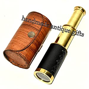 6″ Handheld Brass Telescope & Leather Box Pirate Navigation Spyglass Steam punk