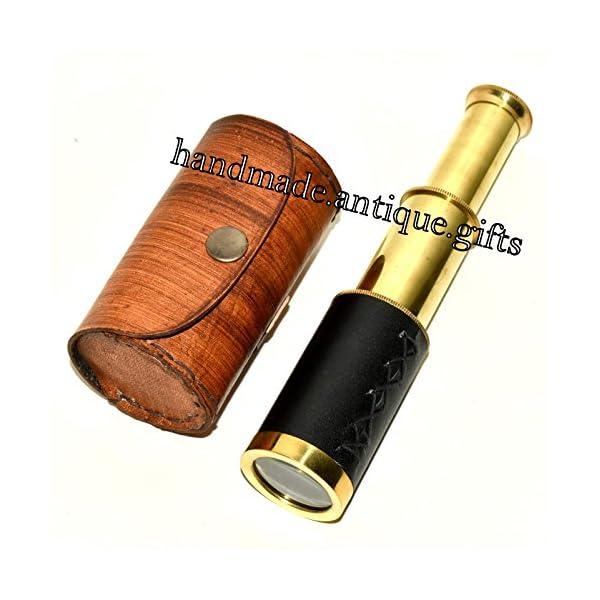 "Nautical Gift Decor 6"" Handheld Brass Telescope & Leather Box Pirate Navigation Spyglass Steam Punk 3"