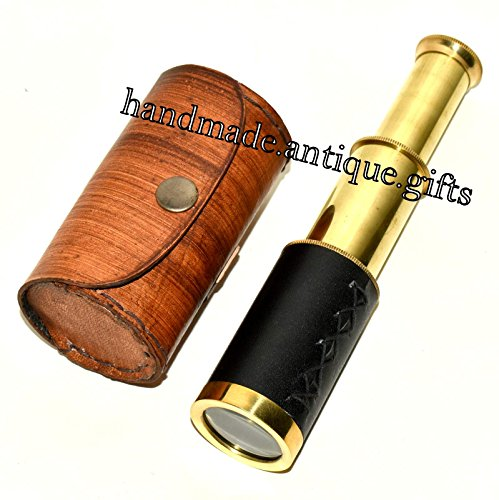 6″ Handheld Brass Telescope & Leather Box Pirate Navigation Spyglass Steam punk
