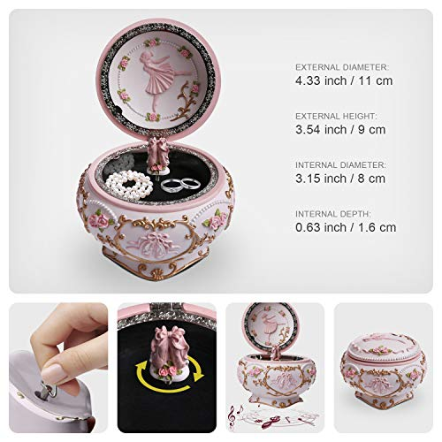 Great Musical Jewelry Boxes for Girls Women as Birthday Keepsake Gifts J JHOUSELIFESTYLE Ballerina Music Jewelry Box Ballet Shoes Rotating as The Music Plays