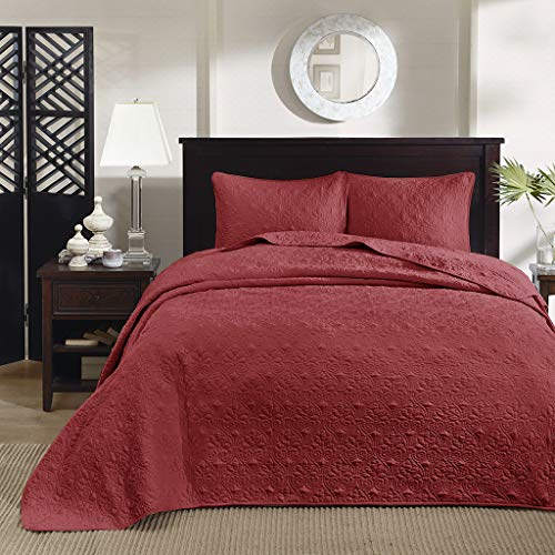 - Madison Park Quebec King Size Quilt Bedding Set - Red , Damask - 3 Piece Bedding Quilt Coverlets - Ultra Soft Microfiber Bed Quilts Quilted Coverlet
