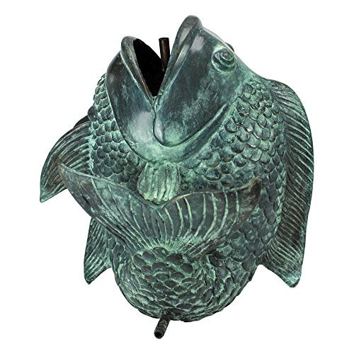 Design Toscano Medium Asian Dancing Fish Cast Bronze Spitting Garden Statue