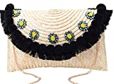 Pulama Straw Crossbody Crochet Shoulder Bag Pom Pom Tassel Pinapple Fringe Fashion Clutch Ivory