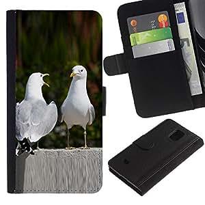 iKiki Tech / Cartera Funda Carcasa - Funny Nature Birds Love - Samsung Galaxy S5 Mini, SM-G800, NOT S5 REGULAR!