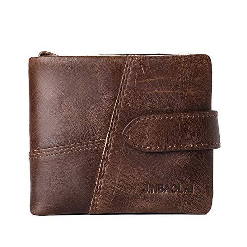 Del Capacidad Hombres Gran Ceja De Totalizador Zipper Bolsos Bolso Oscura Wallet Para Nappa Mano Oscuro Clásico Los Marrón Qztg Café Leather CTZqtHw