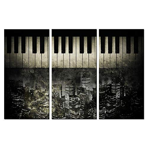 - LevvArts - 3 Piece Canvas Wall Art Vintage Old Piano Keyboard with New York City Background Picture Printed on Canvas Painting Antique Wall Decoration Gallery Wrap Music Canvas Artwork Ready to Hang