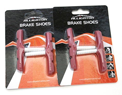Alligator Cantilever MTB Mountain Bicycle Bike Post Type Brake Shoes Pads (2 Pair), Red - Mtb Bike Cantilever Brake