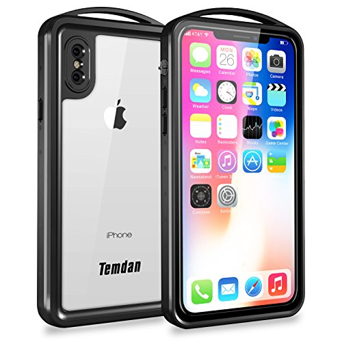 Price comparison product image iPhone X Waterproof Case, Temdan SUPREME Series Shockproof Waterproof Rugged Case with Caranbiner Kickstand Built in Screen Protector Waterproof Case for iPhone X (2017)