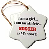 3dRose I Am a Girl, I Am an Athlete, Soccer Is My Sport, Black Red Letters Snowflake Ornament, 3''