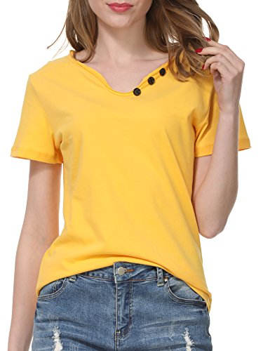 FURAMI Women's Casual Tunic Top Short Sleeve V-Neck Button T-Shirt Blouse Yellow - Sleeve Blouse Yellow Short