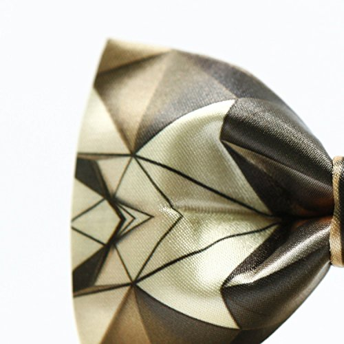 Golden Bow Tie for Men Abstract Radial Lines Printing Adjustable Pre-tied Bowtie