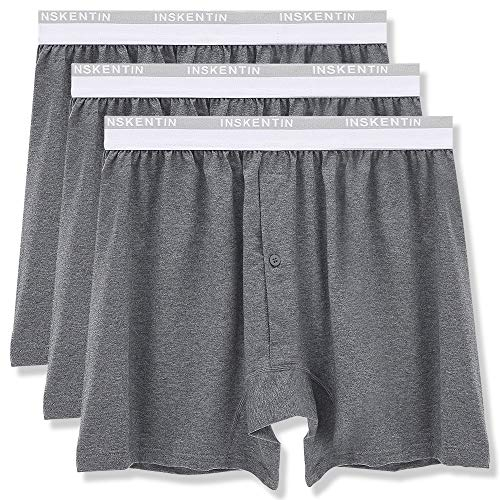 Inskentin Men's Premium Cotton Underwear Relaxed Fit Loose Boxer Briefs Tagless Long Leg Shorts with Fly Gray Small 3 Pack