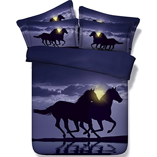 Alicemall Horse Bedding Two Running Horses Digital Printing Purple Bedding 4-Piece Duvet Cover Set, Twin/ Full/ Queen/ King US Size (Twin, Black)