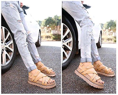 Sandalias Sandalias Color de británico Estudiante Estilo de Zapato Espesor Mujer DANDANJIE Romanas Albaricoque Azul Mezclilla Velcro caseros Albaricoque de Sandalias para de Zapatos Caqui YHdqOF