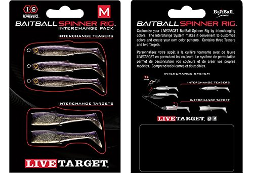 LIVE TARGET BaitBall SR Interchange Pack Umbrella Rig Parts - Purple Pearl Silver, Medium