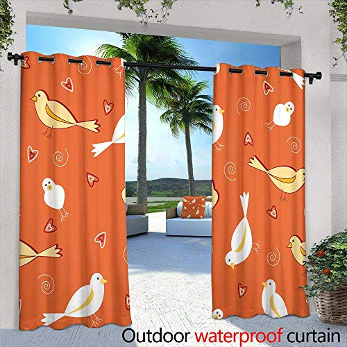 Exterior/Outside Curtains,Seamless Composition of Beautiful Pink Flamingo Birds, Tropical Plants and Flowers Vector Illustration Pattern Wallpaper,W96 x L96 for Patio Light Block Heat Out Water Pro]()