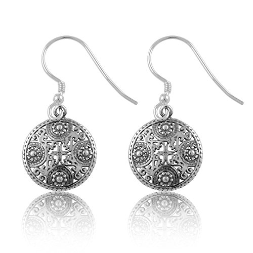 - Sterling Silver Round BoHo Filigree Drop Earrings