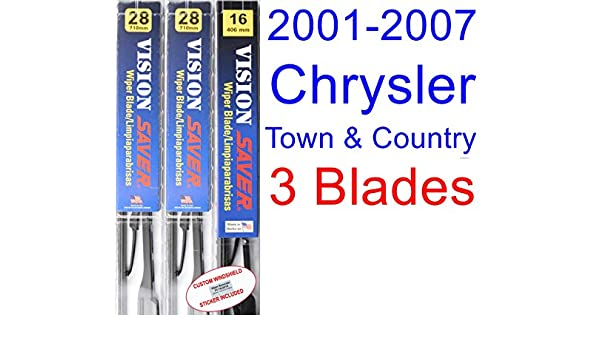 Amazon.com: 2001-2007 Chrysler Town & Country Replacement Wiper Blade Set/Kit (Set of 3 Blades) (Saver Automotive Products-Vision Saver) (2002,2003,2004 ...