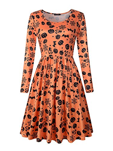 Veranee Women's Long Sleeve Scoop Neck Halloween Costume Pumpkin Dress (Small, 17-8)