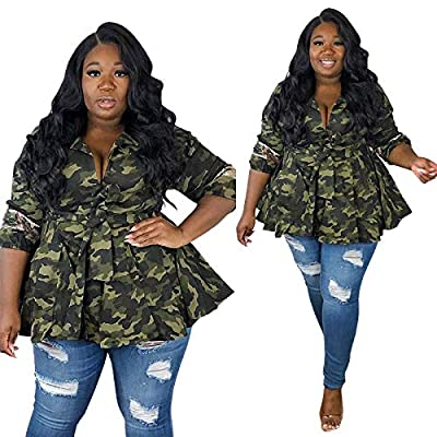 Recious Womens Sexy Lapel 3/4 Sleeve Camo Print Back Sequins Paneled Button Casual Coat Windbreaker Outwear: Clothing