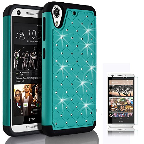 HTC Desire 626s Case, Desire 626 Case, Starshop Slim Dual Layer Armor Phone Case Cover With Spot Diamond Teal With Premium Screen Protector