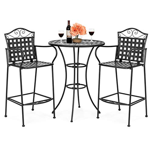 ANA Store Woven Patterns Wrought Iron Seating Balck 3 Piece Courtyard 2 Footrest 1 Drinking Stand with Top Canopy Hole Classic Style Bistro Set