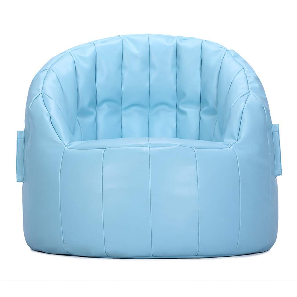 Hellblau PU Scallop Stuhl, Lazy Sofa Sitzsack Mini Small Lounge Stuhl, Gaming Stuhl Legless Rückenlehne Stuhl (Farbe   Hellblau)