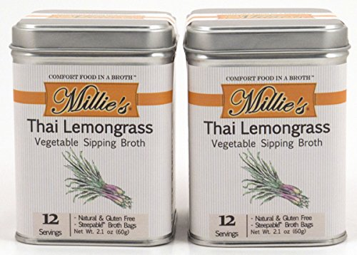 Millie's All Natural Organic Gluten-Free Vegetable Sipping Broth 12 Tea Bags each Thai Lemongrass (2-Pack) by Millie's