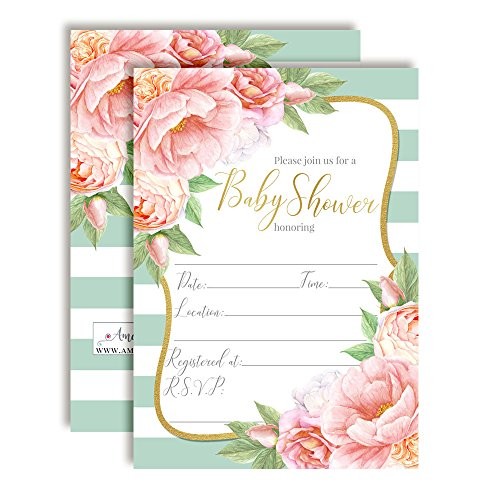 """Aqua & Peony Watercolor Floral Baby Shower Invitations, 20 5""""x7"""" Fill in Cards with Twenty White Envelopes by AmandaCreation"""