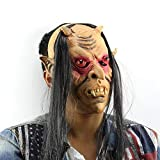 Red Eyes Demon Deluxe Novelty Halloween Costume Party Latex Head Mask, Scary Face Mask Halloween Carnival Christmas Party Decoration Adult Costume Accessory