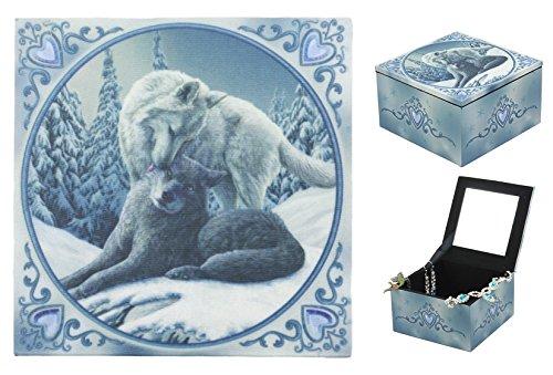 Ebros Blue Valentine Heart Tundra Snow and Gray Wolf Family Mirror Jewelry Box Trinket Keepsake Personal Storage Accessory