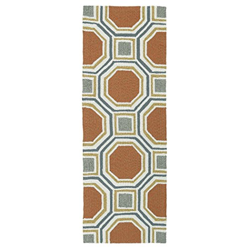 Kaleen Rugs Escape Indoor/Outdoor Rug, Pumpkin, 2' x 6' Runner